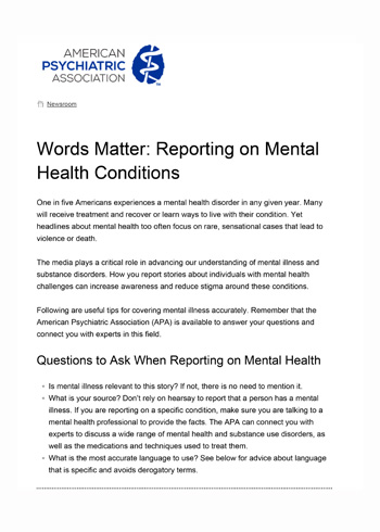 Capture Words Matter Reporting on Mental Health Conditions